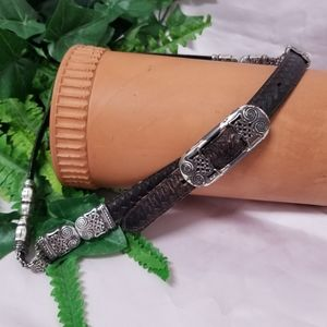 Vintage Leather and Etched Brass Reversible Belt
